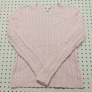 Charter Club Cable Knit Pink Sweater, Size PS
